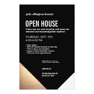 Casa aberta moderna legal do cabeleireiro do preto flyer 13.97 x 21.59cm