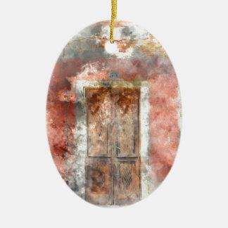 casa colorida na ilha Veneza Italia de Burano Ornamento De Cerâmica Oval