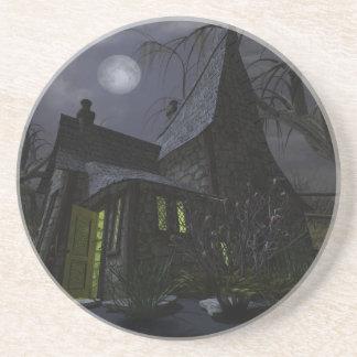 Casa da bruxa do Dia das Bruxas Porta Copos De Arenito