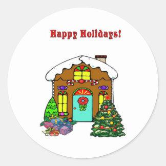 Casa de pão-de-espécie do Natal e boas festas Adesivo