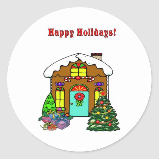 Casa de pão-de-espécie do Natal e boas festas Adesivo Redondo