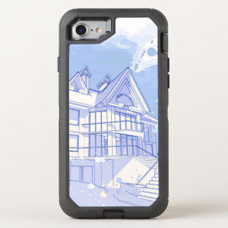casa: desenhar da aguarela capa para iPhone 7 OtterBox defender