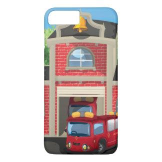 Casa e carro de bombeiros do fogo capa iPhone 8 plus/7 plus