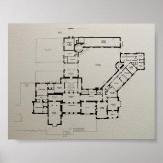 Casa histórica de Greystone Dewey do plano da casa Poster