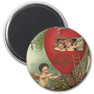 Casa na árvore dos querubins do dia dos namorados ímã redondo 5.08cm