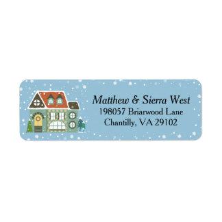 Casa nevado do feriado do Natal Etiqueta Endereço De Retorno