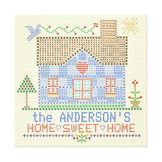 Casa transversal Home doce Home do ponto Impressão Em Tela