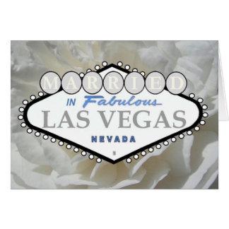CASADO no cartão cor-de-rosa fabuloso de Las Vegas