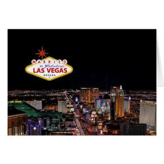 CASADO no cartão fabuloso do anúncio de Las Vegas