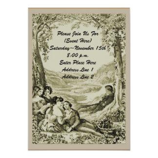 Casais do Victorian no convite do piquenique