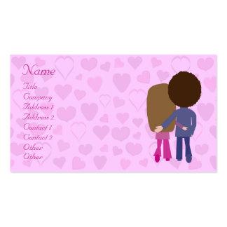 Casal bonito & corações dos desenhos animados que cartão de visita