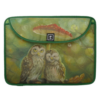 Casal bonito da coruja sob o cogumelo bolsa para MacBook pro