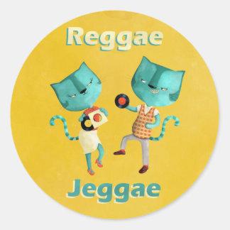 Casal de gatos azuis da reggae adesivo