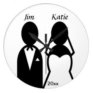 Casal do casamento do ícone relógio grande