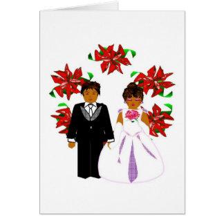 Casal do casamento do Natal com grinalda Cartao