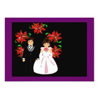Casal do casamento do Natal com grinalda Convite 12.7 X 17.78cm