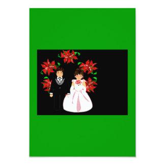 Casal do casamento do Natal com rosa do verde da Convite 12.7 X 17.78cm