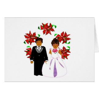 Casal do casamento do Natal II com grinalda Cartão De Nota