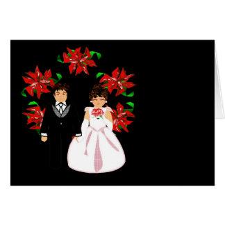 Casal do casamento do Natal mim com grinalda Cartoes