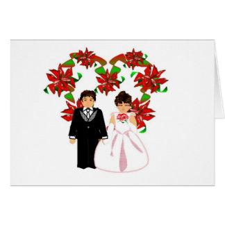 Casal do casamento do Natal mim com grinalda do co Cartão