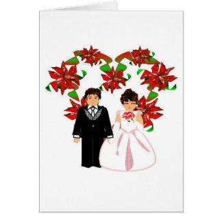 Casal do casamento do Natal mim com grinalda do co Cartoes