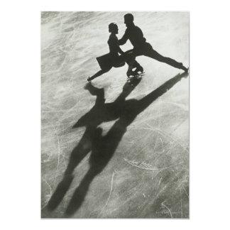 Casal do patinagem no gelo convite 12.7 x 17.78cm