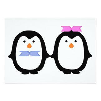 Casal do pinguim convite personalizado