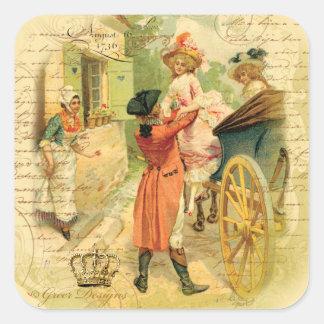 Casal do século XVIII do casamento na carruagem Adesivo Quadrado