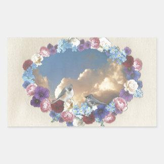 casal do titmouse na grinalda floral adesivo retangular