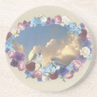 casal do titmouse na grinalda floral porta copos de arenito