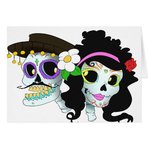 Casal festivo mexicano do crânio cartao