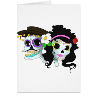 Casal festivo mexicano do crânio cartão