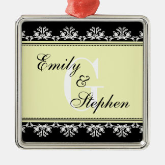 Casal filigrana preto do casamento da beira de ornamento quadrado cor prata