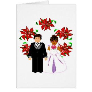 Casal inter-racial do casamento do Natal com Cartão De Nota