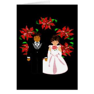 Casal inter-racial do casamento do Natal com grina