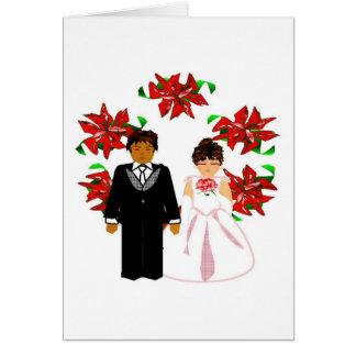 Casal inter-racial do casamento do Natal com grina Cartoes
