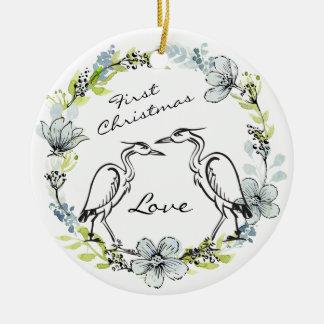 Casal personalizado do pássaro e Natal da grinalda Ornamento De Cerâmica Redondo