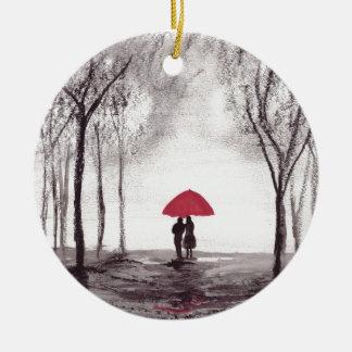 Casal vermelho do amor do guarda-chuva ornamento de cerâmica redondo