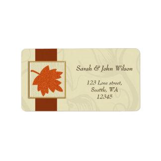 casamento alaranjado do outono, etiqueta de etiqueta de endereço