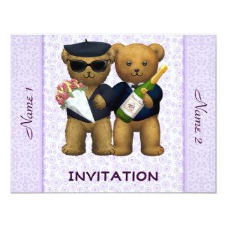 Casamento alegre - convite - lilac dos ursos de