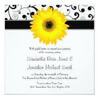 Casamento amarelo do design do rolo do preto da convite quadrado 13.35 x 13.35cm