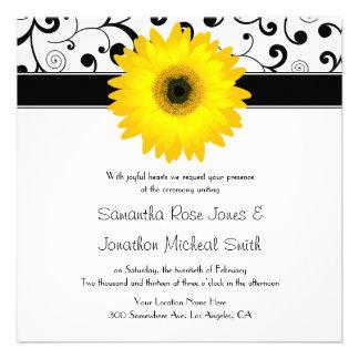 Casamento amarelo do design do rolo do preto da ma convite