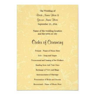 Casamento amarelo e preto com teste padrão subtil convite 12.7 x 17.78cm