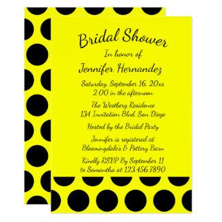 Casamento amarelo e preto do chá de panela das convite 12.7 x 17.78cm