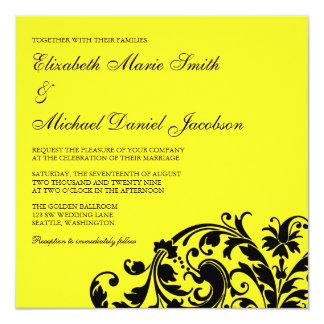 Casamento amarelo e preto do redemoinho do convite quadrado 13.35 x 13.35cm