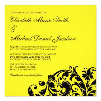Casamento amarelo e preto do redemoinho do Flouris Convites Personalizado