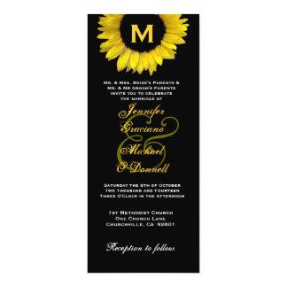 Casamento amarelo e preto elegante do girassol convite