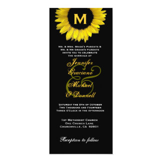 "Casamento amarelo e preto elegante do girassol convite 10.16"" x 23.49cm"