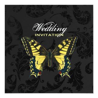 casamento amarelo preto da borboleta do damasco convite quadrado 13.35 x 13.35cm