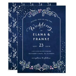 Casamento azul da noite do jardim romântico convite 12.7 x 17.78cm